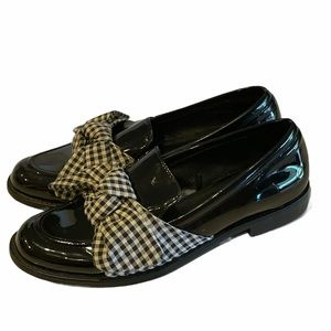 Zara Gingham Bow Black Patent Loafers